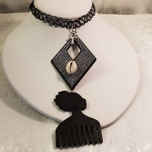 Jewelry - Black simulated Tattoo Afro pic woman choker